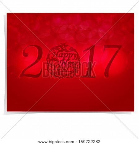 The inscription is made embossed on a red gradient background. Greeting Card Happy New Year. Christmas vector illustration