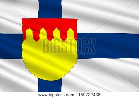 Flag Of Pirkanmaa also known as Tampere Region region in Finland. 3d illustration