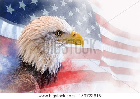 Composite photo: bald eagle in the foreground with the american flag blurred and faded in the background. Red and Blue mist at the bottom.