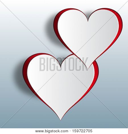 Two enamored hearts on a gradient background. Cut out the paper. Vector illustration