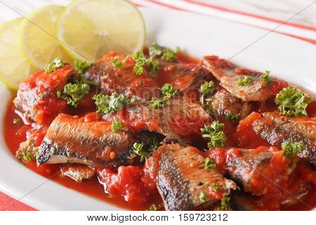 Sardines In Tomato Sauce, Decorated With Lime And Parsley Macro. Horizontal