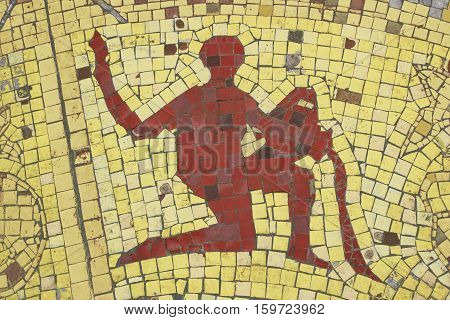 Aquarius zodiac sign in a mosaic style