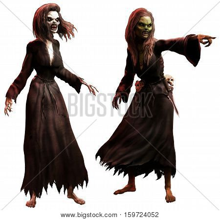2 Horror witches or hags 3D illustration