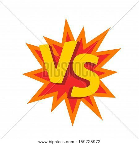 Versus letters or vs logo vector emblem on explosion shape, flat cartoon creative logotype