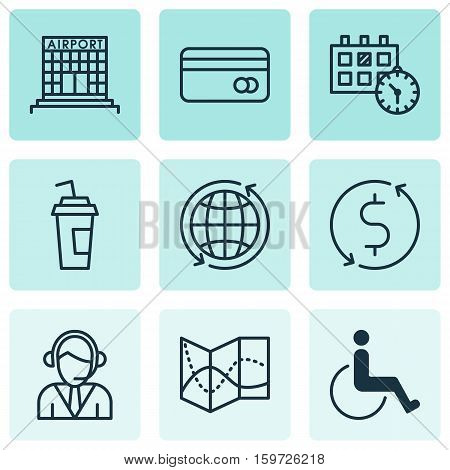 Set Of 9 Traveling Icons. Can Be Used For Web, Mobile, UI And Infographic Design. Includes Elements Such As Paralyzed, Dollar, Disabled And More.