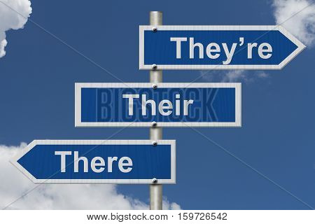 Learning to use proper grammar Blue road sign with words They're Their and There with sky background 3D Illustration