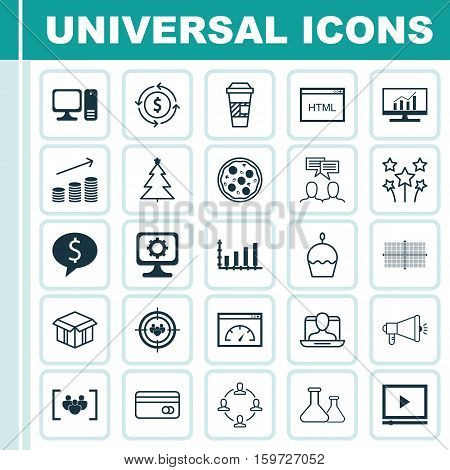Set Of 25 Universal Editable Icons. Can Be Used For Web, Mobile And App Design. Includes Elements Such As Loading Speed, Social Profile, Discussion And More.