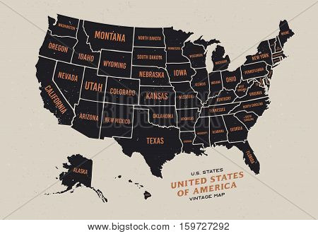 Vintage map of United States of America 50 states vector map isolated on light background.
