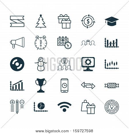 Set Of 25 Universal Editable Icons. Can Be Used For Web, Mobile And App Design. Includes Elements Such As Winter, Shopping, Stock Market And More.