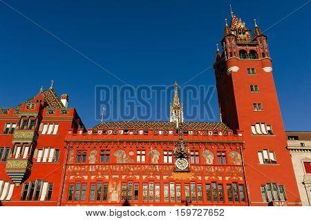 Basel Switzerland - red Rathaus (Town Hall) in Marktplatz