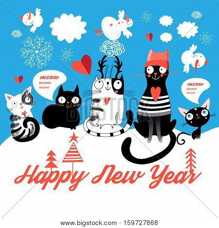 Bright Christmas card with cats and snowmen on a blue background