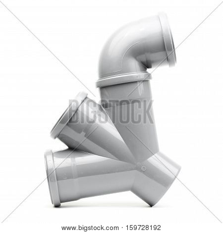 New gray drain pipe isolated on white background