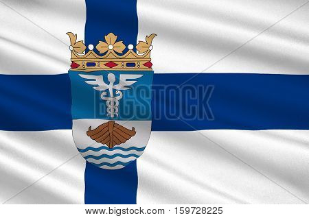 Flag Of Jyvaskyla is a city and municipality in Central Finland region in Finland. 3d illustration
