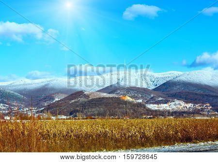 Winter Country Sunshiny Mountain (ukraine).