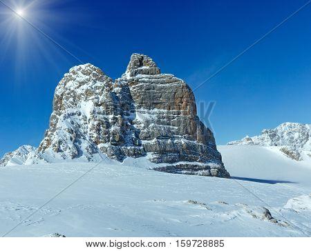 Winter Sunshiny Dachstein Mountain Massif