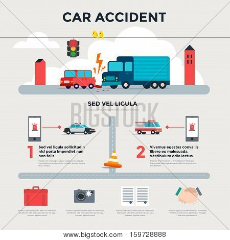 Car accident on the road. Infographics. After an accident. Vector illustration.