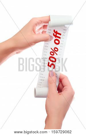 Woman Hold In Her Hands Roll Of Paper With Printed Receipt Mock Up Template. Text 50% Off In Red Ove