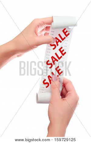 Woman Hold in Her Hands Roll of Paper With Printed Receipt Mock Up Template. Text SALE in Red Over Digits on Mockup. May Be Used in Article About Shopping Paying Bills and Finance. Copy Space.