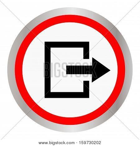 Round silver exit icon metallic vector icon.