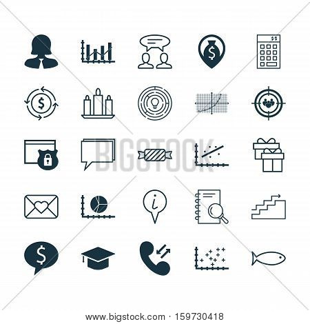 Set Of 25 Universal Editable Icons. Can Be Used For Web, Mobile And App Design. Includes Elements Such As Celebration Letter, Analytics, Business Woman And More.