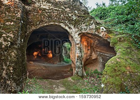 Sorano, Grosseto, Tuscany, Italy: old cave carved into the tufa rock and used as human habitation in ancient times