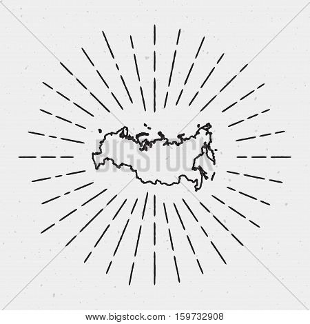 Vector Russian Federation Map Outline With Retro Sunburst Border. Hand Drawn Hipster Decoration Elem