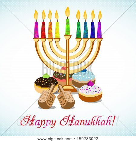 Postcard for greetings with Festival of Lights Feast of Dedication Hanukkah. Menorah with colorful candles dreidels and jewish sufganiots on halftone background. Vector illustration