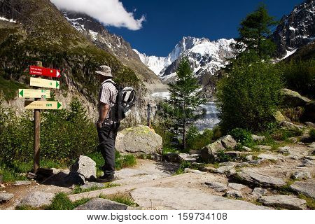 Hiker choosing the way to the Mer de Glace glacier under the Mt. Blanc Graian Alps France