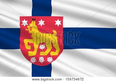 Flag Of Tavastia Proper region in Finland. 3d illustration