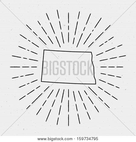 Retro Sunburst Hipster Design. North Dakota Map Surrounded By Vintage Sunburst Rays. Trendy Hand Dra