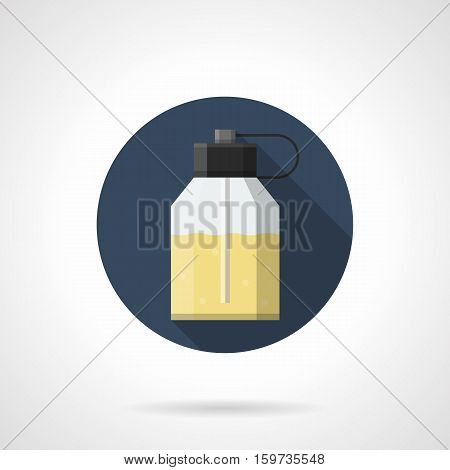 Simple glass or plastic bottle with yellow liquid and dispenser. Eau de parfum store. Cosmetic and perfumery products. Round flat design vector icon.