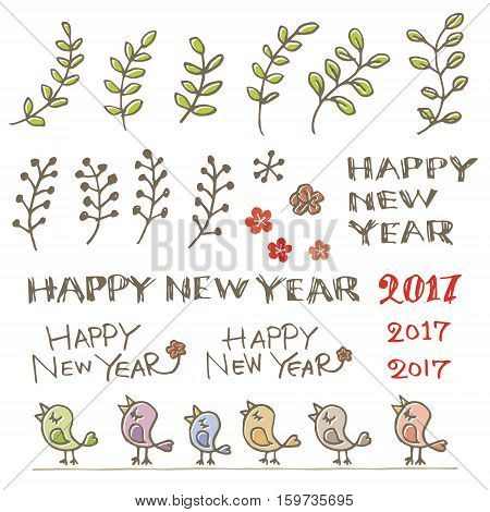 Colorful little birds plants and New Year greeting words