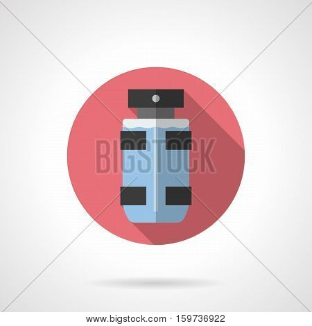 Symbol of perfume spray in transparent glass bottle with black decor elements. Male deodorant, hygiene and cosmetic products. Round flat design vector icon.