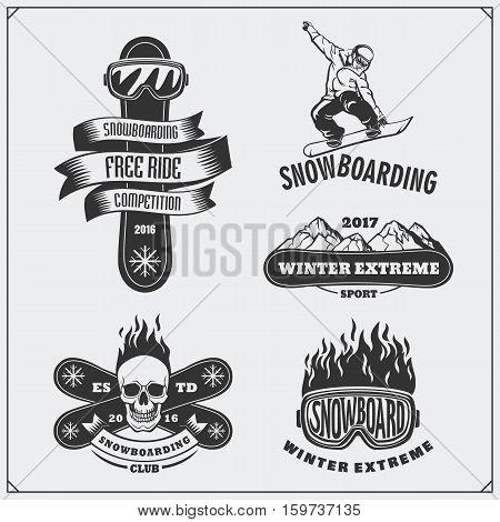 Set of Snowboarding extreme labels, emblems, badges and design elements. Vintage mountain adventure symbols.