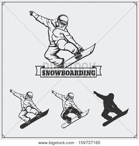 Set of Snowboarding extreme labels, emblems, badges and design elements.