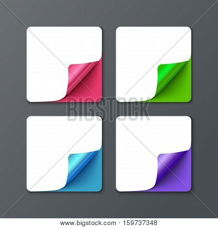 Set of square banner template with curl corners. Realistic vector paper with curved corner. Paper temolate for print and web banner, flyer for sale and promo advertising text message