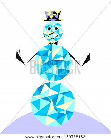 Snowman in the style of the polygon. Winter character in the classic bowler hat