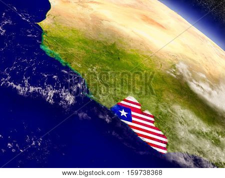 Liberia With Embedded Flag On Earth