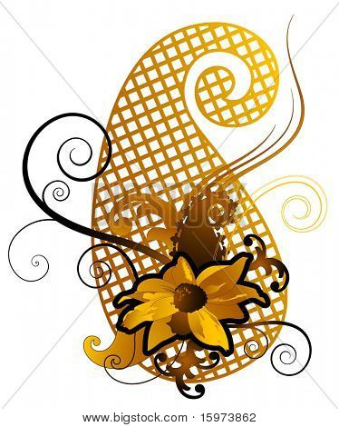 virágos paisley vektor