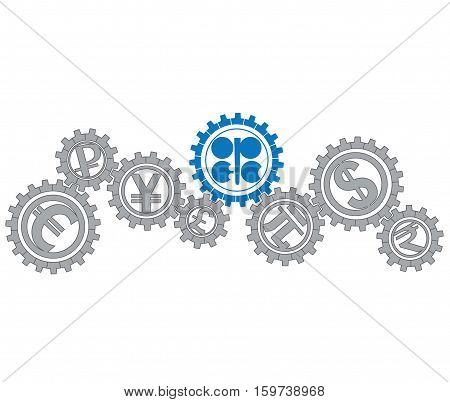 Concept of relationship OPEC mi world economy. Vector illustration