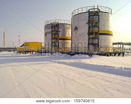 Tanks With Oil Owned Oil Company Rosneft.