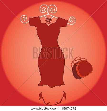 hot little red dress with handbag and shoes  on funky hanger vector