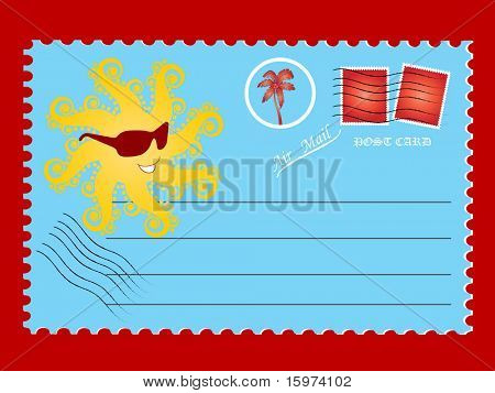 post card with sun vector