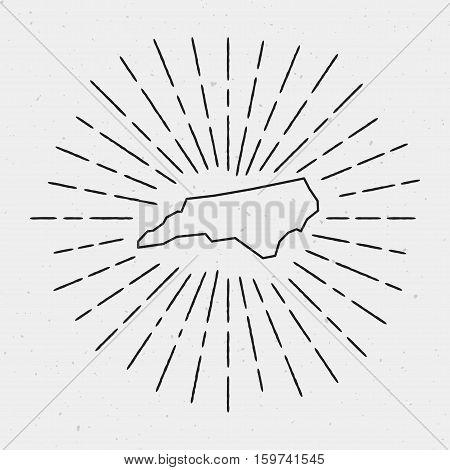 Retro Sunburst Hipster Design. North Carolina Map Surrounded By Vintage Sunburst Rays. Trendy Hand D