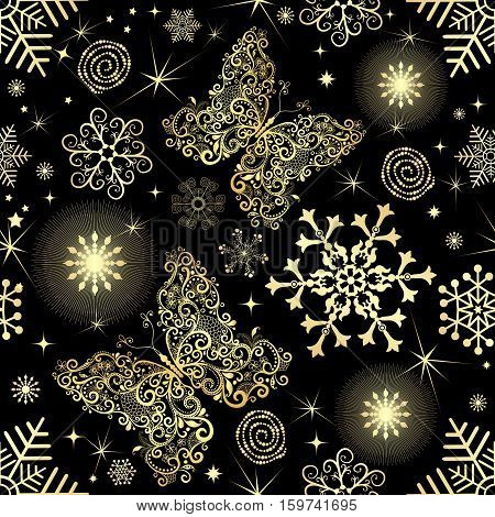 Seamless pattern with gold snowflakes and vintage lacy butterflies on black background vector