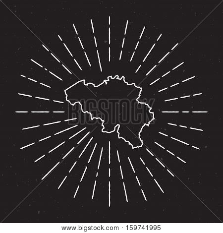 Belgium Vector Map Outline With Vintage Sunburst Border. Hand Drawn Map With Hipster Decoration Elem