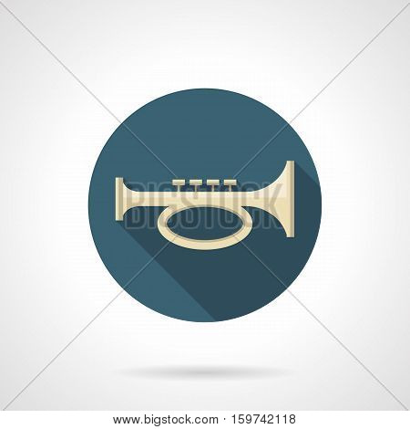 Cornet, bugle or trumpet symbol. Brass horn melody. Musical and sound instruments. Orchestral, jazz, festival music. Round flat design vector icon.