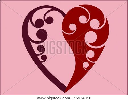 yin yang loveheart room for your input vector