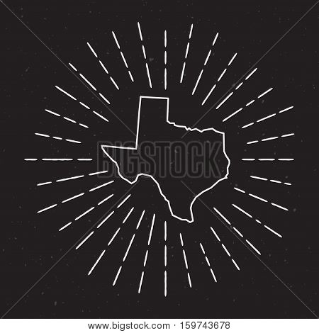 Texas Vector Map Outline With Vintage Sunburst Border. Hand Drawn Map With Hipster Decoration Elemen