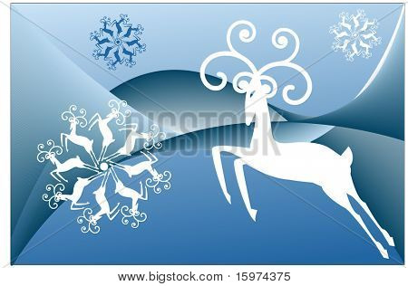 stylized reindeer and reindeer snowflakes vector